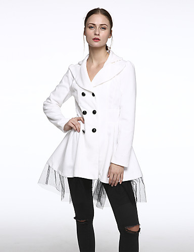 Manteau Femme,Couleur Pleine Manches Longues Col de Chemise Bleu Rouge Blanc Noir Laine Opaque Hiver