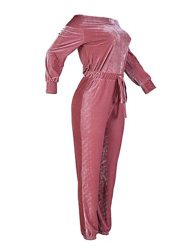abordables Hauts pour Femmes-Femme Velours Epaules Dénudées Quotidien Bateau Bleu Rose Combinaison-pantalon, Couleur Pleine M L XL Taille Haute Manches Longues Automne Hiver
