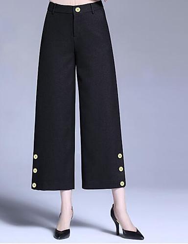 Damen Einfach Mittlere Hüfthöhe Unelastisch Chinos Gerade Breites Bein Hose Solide