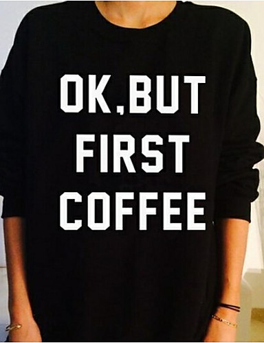 Damen Pullover Übergröße Lässig/Alltäglich Aktiv Buchstabe Rundhalsausschnitt Mikro-elastisch Polyester Lange Ärmel Herbst Winter