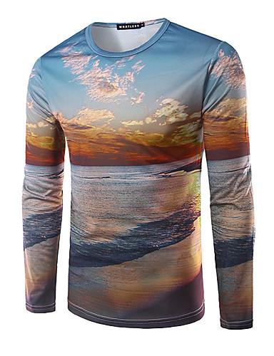 Herren Druck Einfach Ausgehen T-shirt,Rundhalsausschnitt Herbst Langarm Modal Mittel