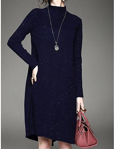 Damen Etuikleid Kleid-Ausgehen Lässig/Alltäglich Einfach Solide Rundhalsausschnitt Knielang Langarm Blau Rot Schwarz Baumwolle Winter
