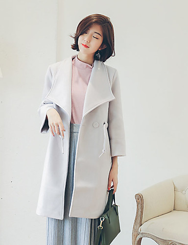 Damen Solide Street Schick Ausgehen Mantel,Herbst Winter V-Ausschnitt Langarm Rot Grau Dick Baumwolle