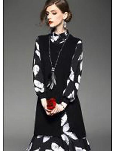 Damen Hülle Kleid-Ausgehen Lässig/Alltäglich Formal Anspruchsvoll Blumen Rollkragen Knielang Langarm Schwarz Polyester Frühling Sommer