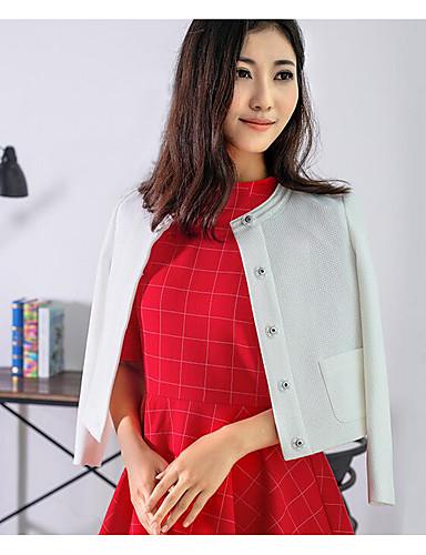 Damen Solide Einfach Lässig/Alltäglich Trenchcoat,Herbst Rundhalsausschnitt Langarm Rosa Weiß Mittel Baumwolle