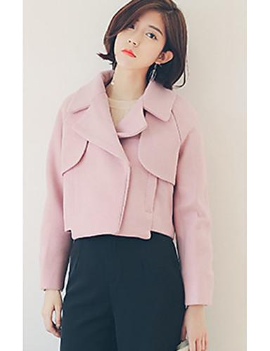 Damen Solide Sexy Einfach Ausgehen Lässig/Alltäglich Mantel,Winter Hemdkragen Langarm Rosa Beige Dick Wolle