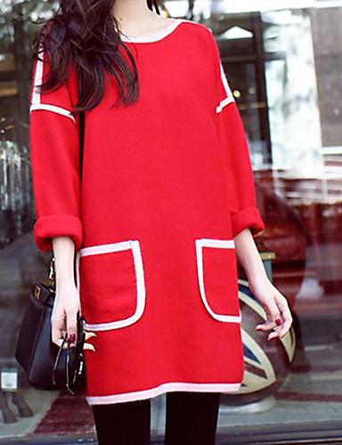 Damen Hülle Kleid-Lässig/Alltäglich Einfach Solide Rundhalsausschnitt Übers Knie Langarm Rot Kunstseide Herbst Winter Mittlere Hüfthöhe