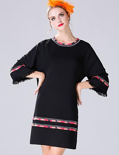 Damen Etuikleid Kleid-Lässig/Alltäglich Einfach Stickerei Rundhalsausschnitt Übers Knie ¾-Arm Polyester Frühling Sommer Mittlere Hüfthöhe