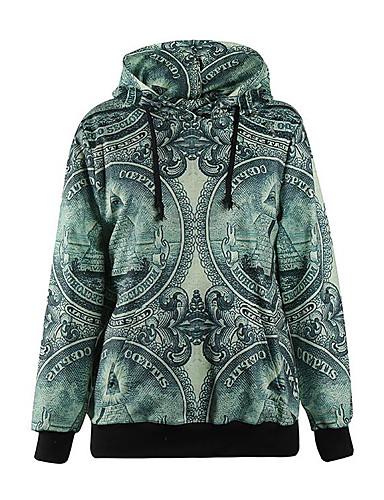 Damen Kapuzenshirt Lässig/Alltäglich Gestreift Rundhalsausschnitt Mikro-elastisch Baumwolle Langarm Herbst Winter