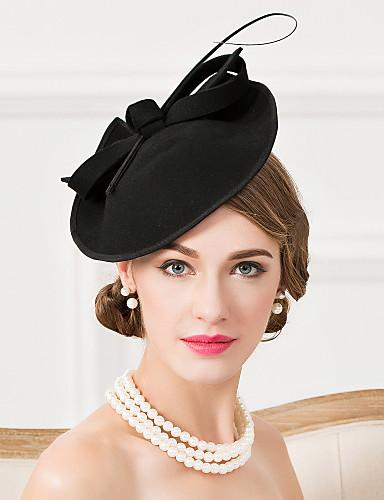 billige Hatte & Imponeringer-Ull / Fjær Kentucky Derby Hat / fascinators / Hatter med 1 Bryllup / Spesiell Leilighet / Avslappet Hodeplagg