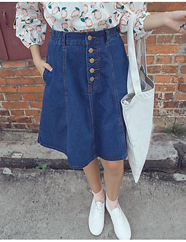 Damen Chinoiserie Sexy Niedlich Mittlere Hüfthöhe Knielänge Röcke A-Linie,Jeansstoff einfarbig