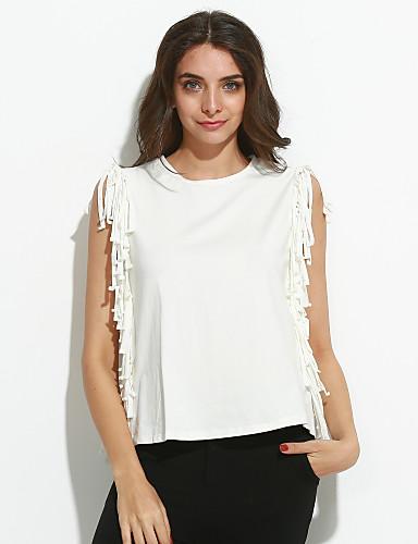 Casual/hétköznapi Egyszerű Kerek-Női Póló,Egyszínű Ujjatlan Fehér Poliészter Vékony