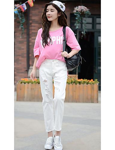 Damen Schlank Jeans Hose-Lässig/Alltäglich Einfach einfarbig Ripped Mittlere Hüfthöhe Knopf Baumwolle Micro-elastisch Herbst Riemengurte