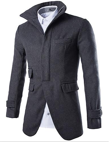 Herren Solide Einfach Lässig/Alltäglich Mantel,Herbst Winter Ständer Langarm Schwarz Grau Mittel Baumwolle