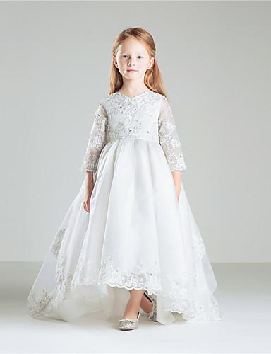 9b7d1fd02ba Принцесса В пол Детское праздничное платье - Хлопок   Органза Рукав 3 4  Круглый вырез