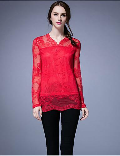 Damen Blumen Sexy Einfach Chinoiserie Ausgehen Strand Festtage T-shirt,V-Ausschnitt Langarm Polyester