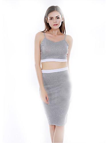 Damen Bodycon Kleid-Lässig/Alltäglich Sexy Solide Gurt Midi Ärmellos Baumwolle Sommer Tiefe Hüfthöhe Mikro-elastisch Dünn