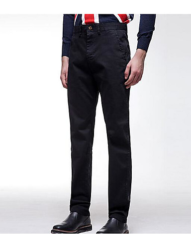 Herren Extraklein Gerade Chinos Hose-Lässig/Alltäglich Einfach einfarbig Mittlere Hüfthöhe Elastizität Baumwolle Micro-elastisch Herbst