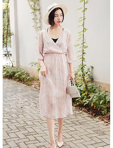 Damen Hülle Kleid-Lässig/Alltäglich Niedlich Druck V-Ausschnitt Übers Knie ¾-Arm Blau Rosa Baumwolle Sommer Hohe Hüfthöhe Mikro-elastisch