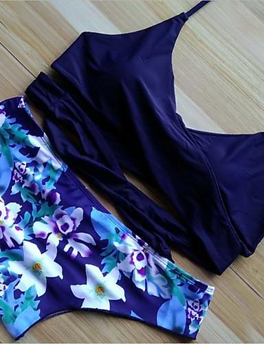 Mujer Bikini - Estampado, Floral Pícaro Con Tirantes
