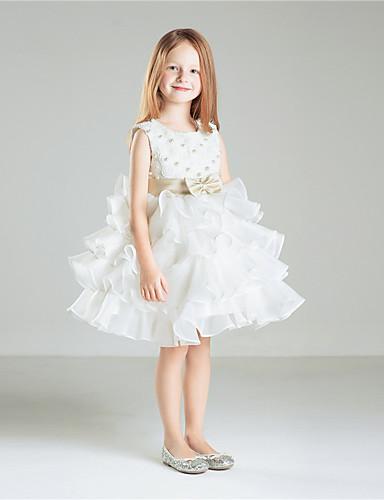 Prinzessin Knielänge Blume Mädchen Kleid - Baumwolle Tüll ärmellosen Juwel Hals mit Perlen