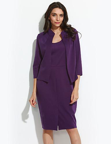 Feminino Tubinho Vestido,Casual / Tamanhos Grandes estilo antigo / Sofisticado Sólido Decote Redondo Altura dos Joelhos Manga ¾ Roxo