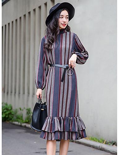 Damen Swing Kleid-Ausgehen Lässig/Alltäglich Einfach Niedlich Gestreift Asymmetrisch Midi Langarm Lila Baumwolle Herbst WinterMittlere