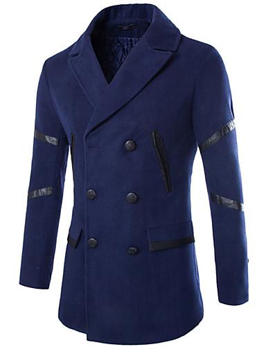 Herren Solide Einfach Lässig/Alltäglich Mantel,Herbst Winter Hemdkragen Langarm Blau Schwarz Grau Mittel Baumwolle