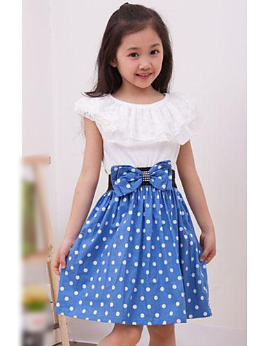 Girl's Daily Going out Polka Dot Dress Summer Short Sleeves Dot Lace Black Red Blue