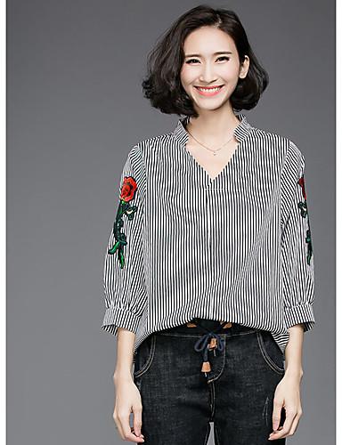 Damen Stickerei Retro Ausgehen T-shirt,V-Ausschnitt Frühling Herbst Langarm Schwarz Baumwolle Undurchsichtig