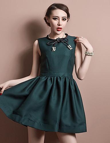 Damen A-Linie Kleid-Lässig/Alltäglich Einfach Solide Rundhalsausschnitt Übers Knie Langarm Rot Grün Polyester Herbst Mittlere Hüfthöhe