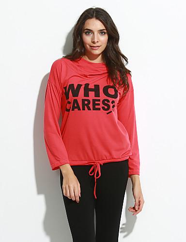 Mujer Noche Camiseta Letra Rojo M / Primavera / Otoño