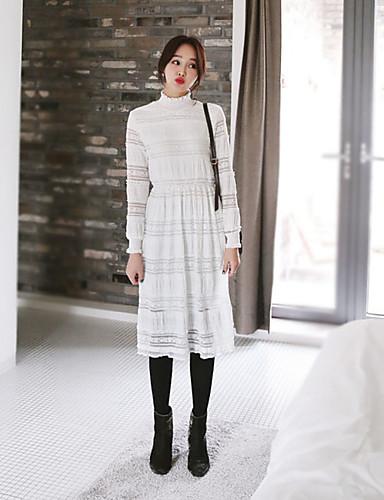 Damen A-Linie Kleid-Lässig/Alltäglich Einfach Niedlich Street Schick Solide Rundhalsausschnitt Midi Langarm Weiß Baumwolle Frühling