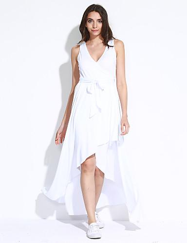 Mulheres balanço Vestido - Pregueado, Sólido Decote V Assimétrico