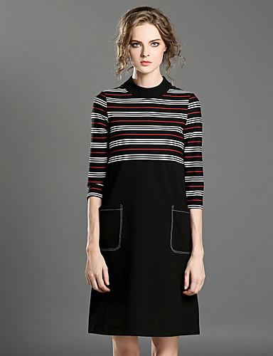 Damen Etuikleid Kleid-Lässig/Alltäglich Einfach Gestreift Rundhalsausschnitt Übers Knie ¾-Arm Baumwolle Sommer Mittlere Hüfthöhe