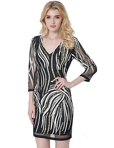 Damen A-Linie Kleid-Lässig/Alltäglich Einfach Geometrisch V-Ausschnitt Mini ¾-Arm Schwarz Baumwolle Polyester Sommer Mittlere Hüfthöhe