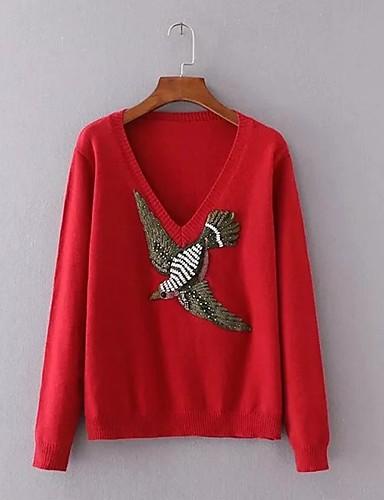 Damen Standard Pullover-Ausgehen Lässig/Alltäglich Einfach Street Schick Patchwork V-Ausschnitt Langarm Acryl Polyester ElasthanHerbst