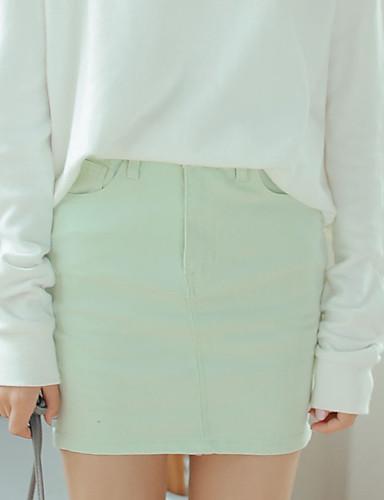 Damen Röcke,Bodycon einfarbigAusgehen Mittlere Hüfthöhe Über dem Knie Knopf Baumwolle Micro-elastisch All Seasons