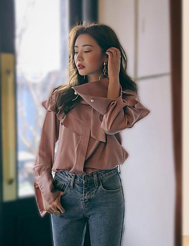Damen Solide Einfach Lässig/Alltäglich Hemd,Rundhalsausschnitt Frühling Langarm Rosa Baumwolle Mittel