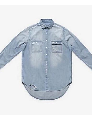 Herrn Solide - Einfach Seide Hemd / Einheitsgröße passend von S bis M, bitte beachten Sie  die Größentabelle unten. / Langarm
