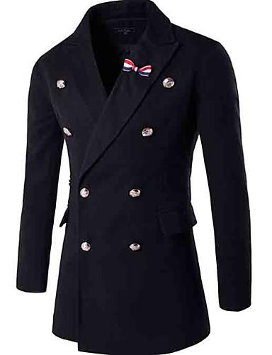 Herren Solide Einfach Lässig/Alltäglich Mantel,Herbst Winter Hemdkragen Langarm Blau Schwarz Mittel Baumwolle