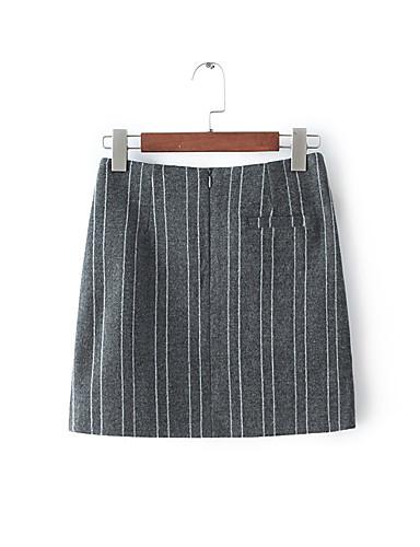 Frauen eine Linie feste Röcke, casual / Tages Vintage Mitte Mini Reißverschluss Baumwolle Mikro-elastische Feder steigen