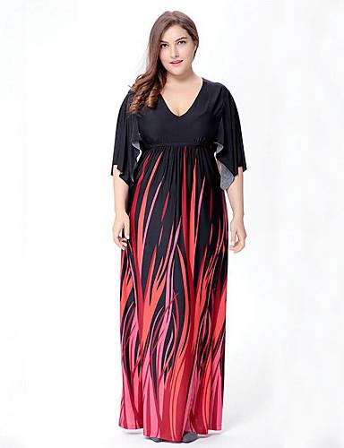 voordelige Grote maten jurken-Dames Grote maten Boho Wijd uitlopend Jurk - Abstract, Print V-hals Maxi