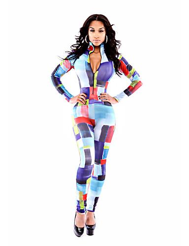 Damen Extraklein Schlank Overall-Ausgehen Party/Cocktail Sexy Gestreift V-Ausschnitt Langarm Mittlere Hüfthöhe Leinen Micro-elastisch