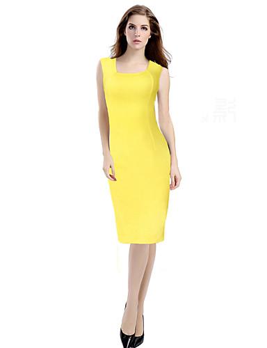 Damen Arbeit Hülle Kleid - Formaler Stil, Solide Quadratischer Ausschnitt