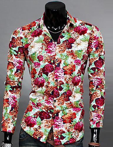 Bomull / Polyester Tynn Klassisk krage Skjorte Herre - Blomstret, Nagle / Langermet
