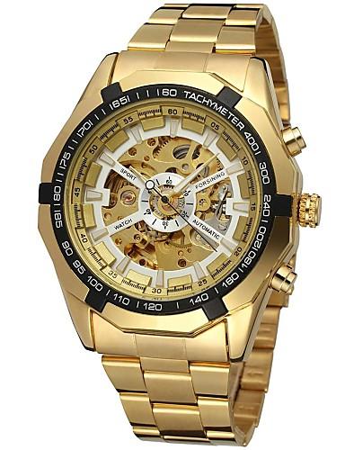 お買い得  ステンレス-FORSINING 男性用 リストウォッチ 機械式時計 自動巻き ステンレス ゴールド 透かし加工 ハンズ ぜいたく ファッション - ゴールド ホワイト ブラック