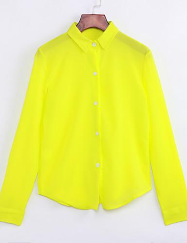 Women's Daily Casual Fall Shirt,Solid Shirt Collar Long Sleeves Medium