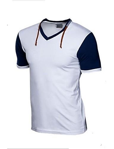 Homens Camiseta Sólido Algodão Decote Redondo