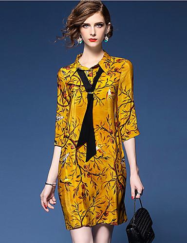 Dame Skiftet Kjole Trykt mønster Skjortekrage